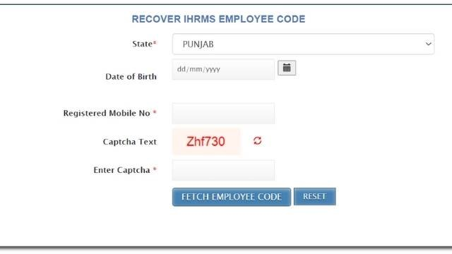 ihrms Punjab employee code recover