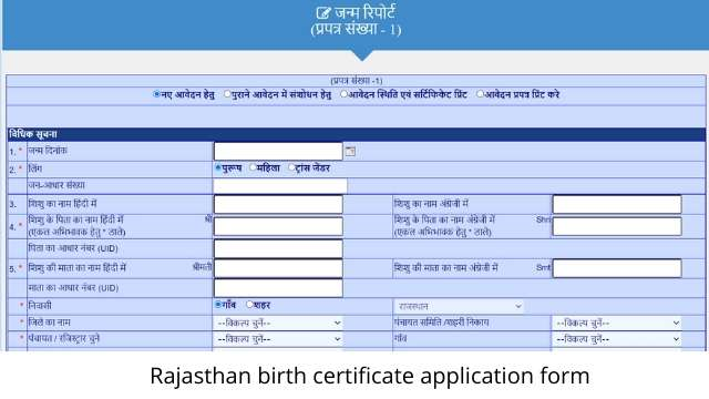 Birth certificate form Rajasthan